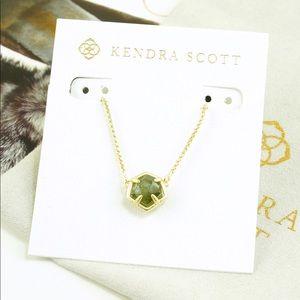 Kendra Scott Jaxon Necklace Sage Mica Gold Tone